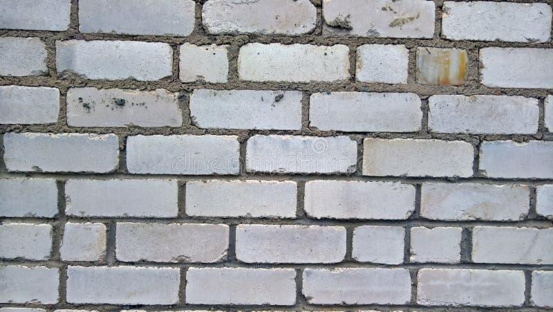 Biały ściana z cegieł z cementowymi szwami fotografia royalty free