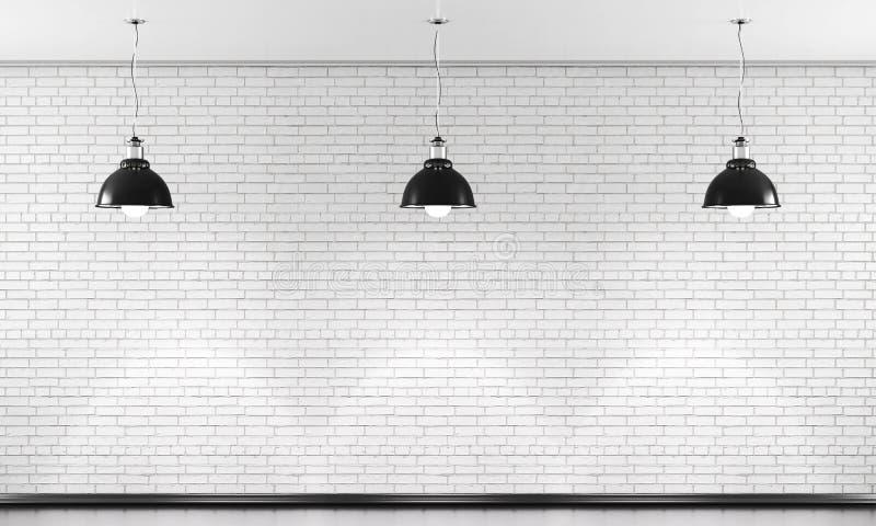 Biały ściana z cegieł i trzy czarna podsufitowa lampa 3d ilustracji