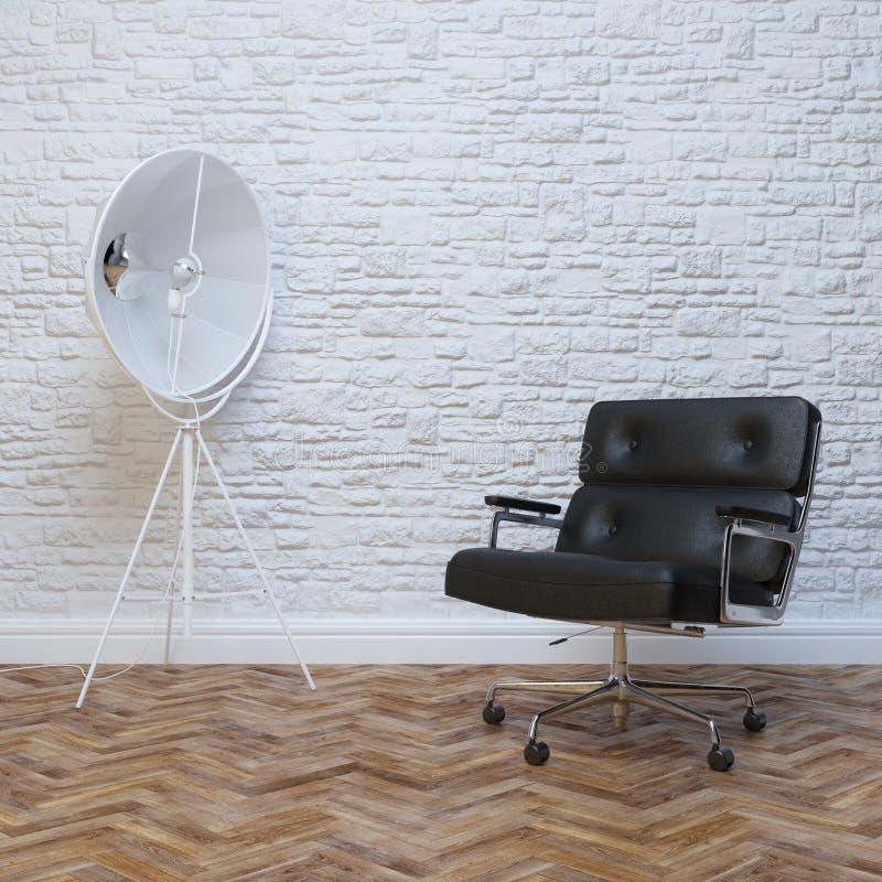 Biały ściana z cegieł wnętrze Z Czarnym Rzemiennym Biurowym karłem zdjęcia royalty free
