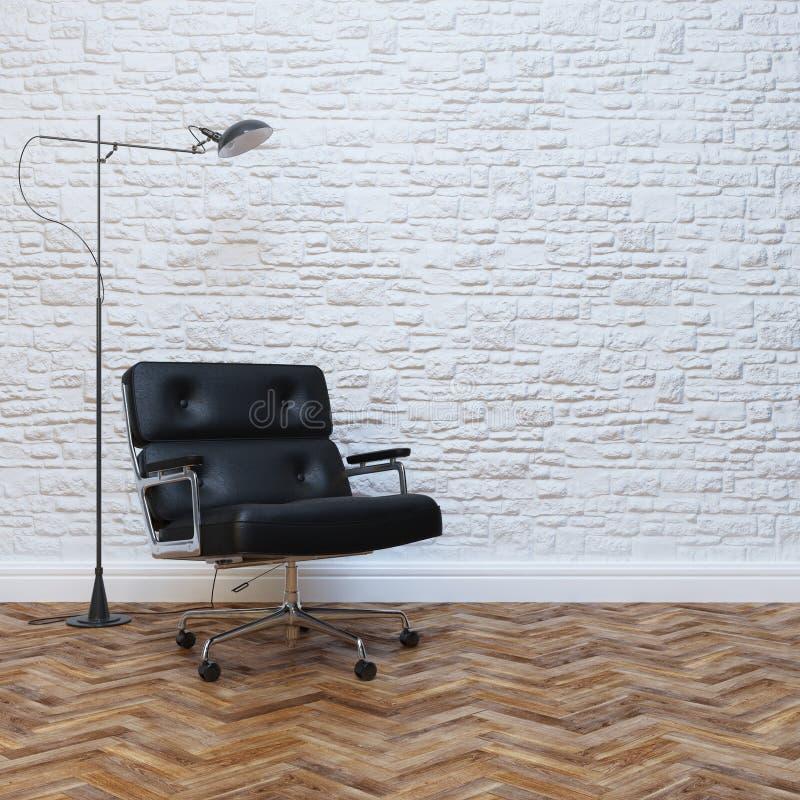 Biały ściana z cegieł wnętrze Z Czarnym Rzemiennym Biurowym karłem zdjęcie stock