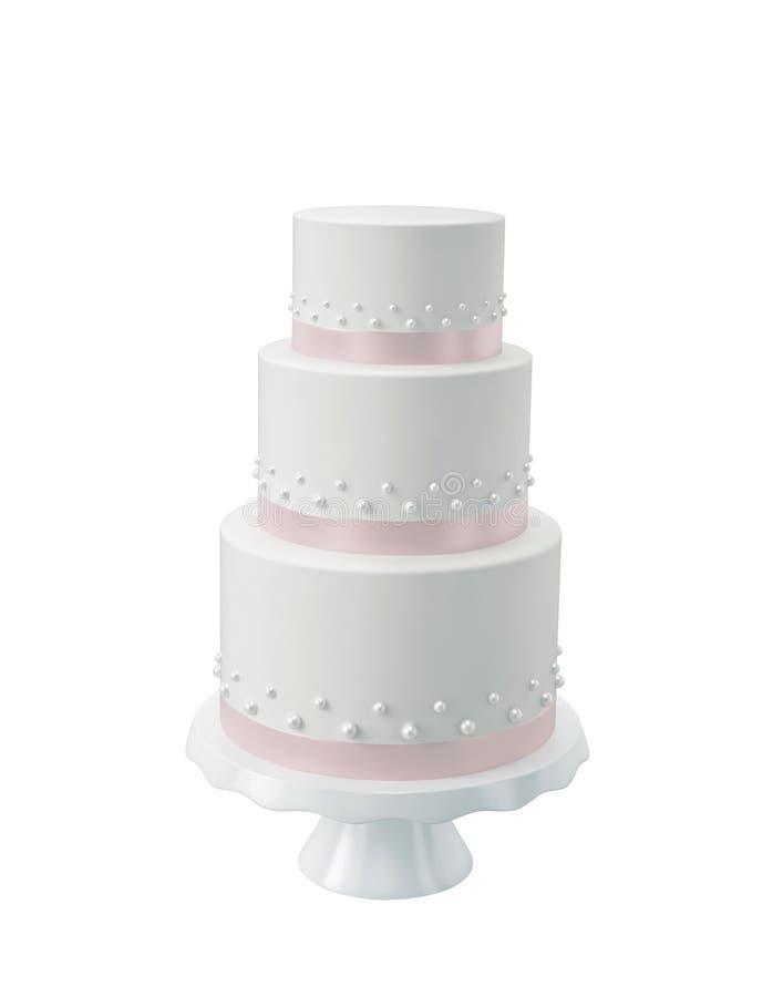 Biały ślubny tort na porcelana stojaku ilustracji
