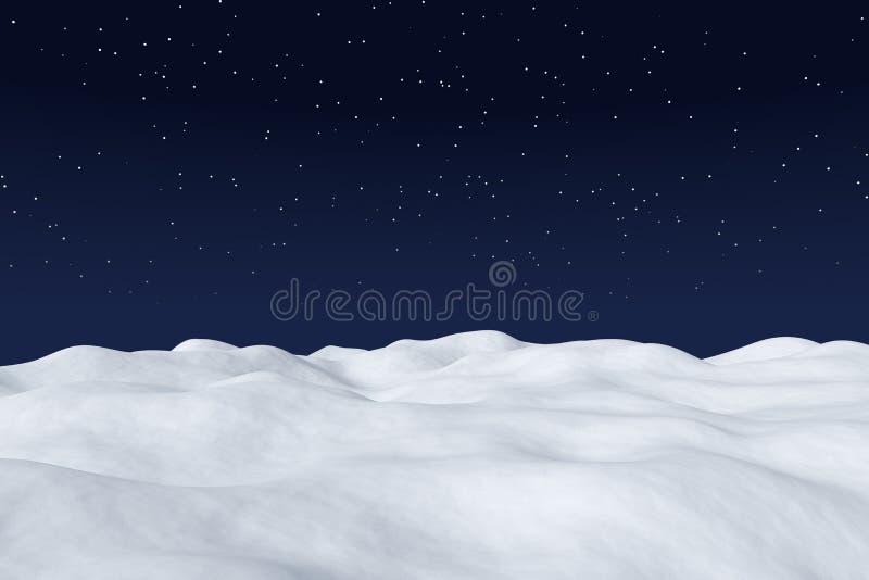 Biały śnieżny pole przy nocy zimy krajobrazem ilustracja wektor