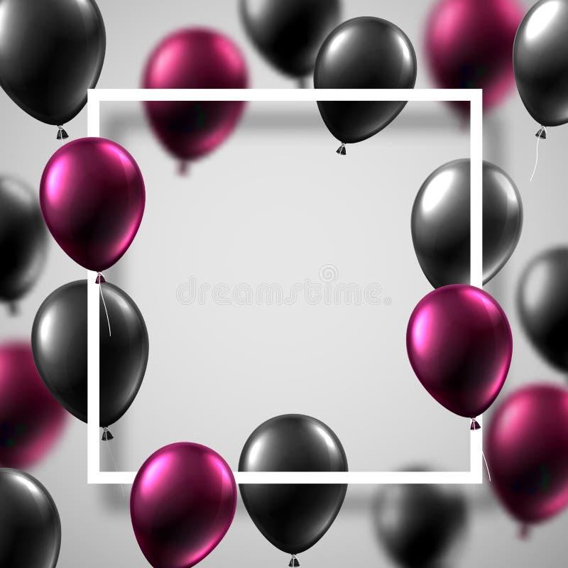 Biały świąteczny tło z kwadrat ramą, czerń i różowy sh ilustracji