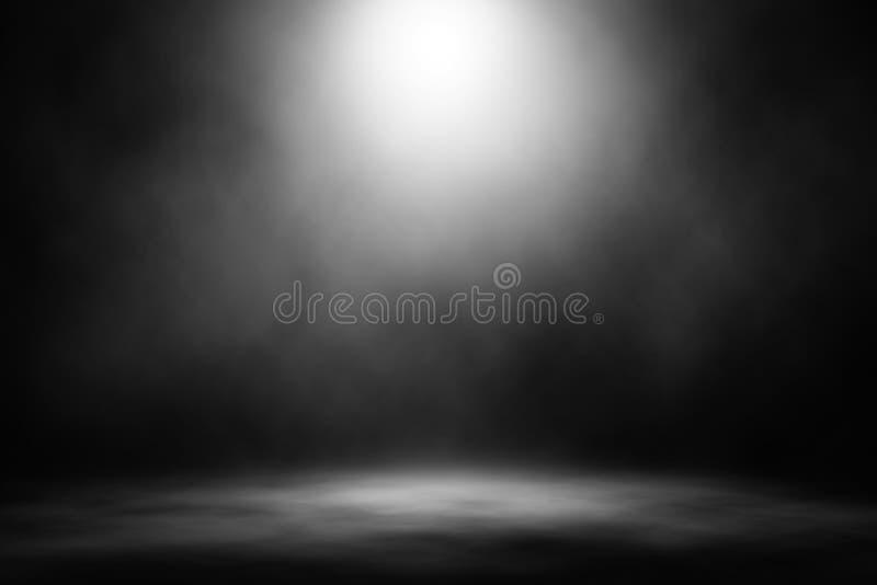 Biały światło reflektorów dymu sceny rozrywki tło obraz stock