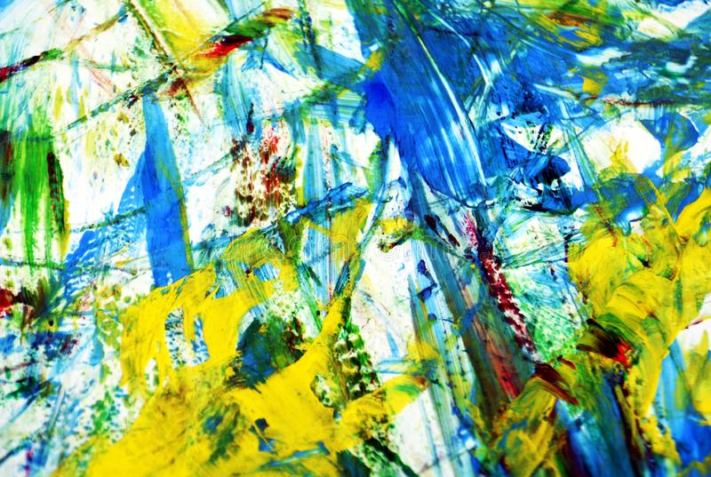 Biały żółty błękitny żywy obrazu tło, abstrakcjonistyczny obraz akwareli tło zdjęcia royalty free