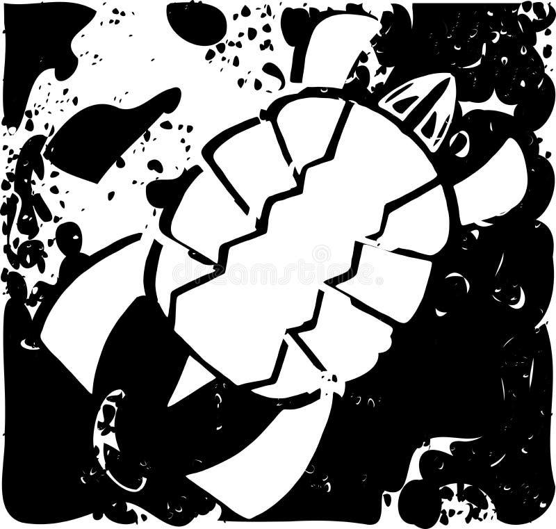 Biały żółw na abstrakcjonistycznym czarnym tle zdjęcie royalty free