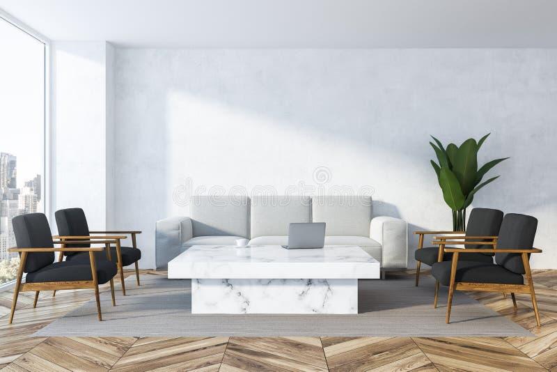Biały żywy pokój, biała kanapa royalty ilustracja