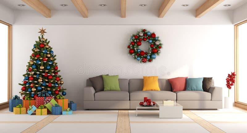 Biały żywy pokój z choinką ilustracji