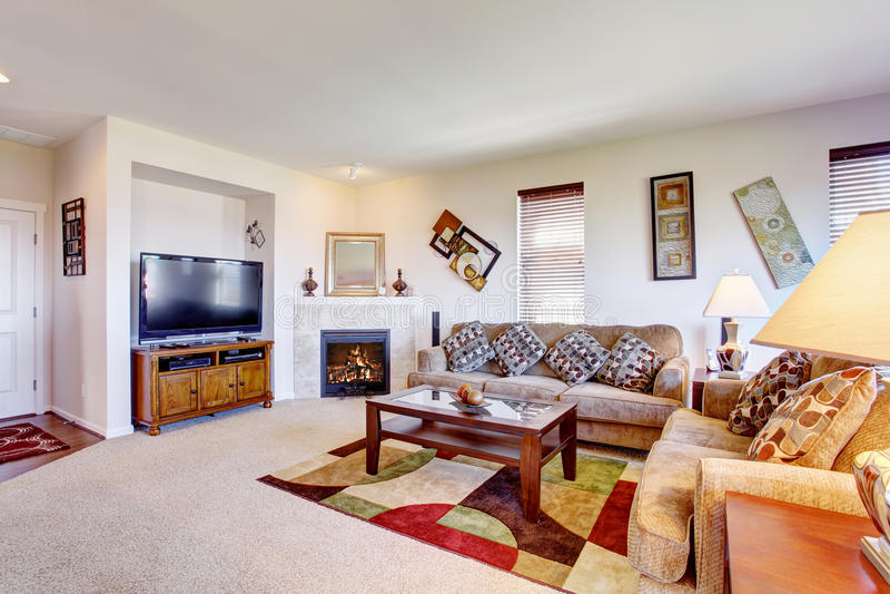 Biały żywy pokój z grabą i kolorowym dywanikiem zdjęcie stock