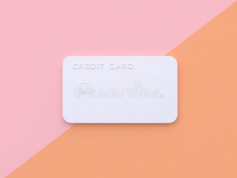 Biały abstrakcjonistyczny minimalny różowy pomarańczowy pastel przechylający karty kredytowej tło 3d odpłaca się biznesowego poję royalty ilustracja