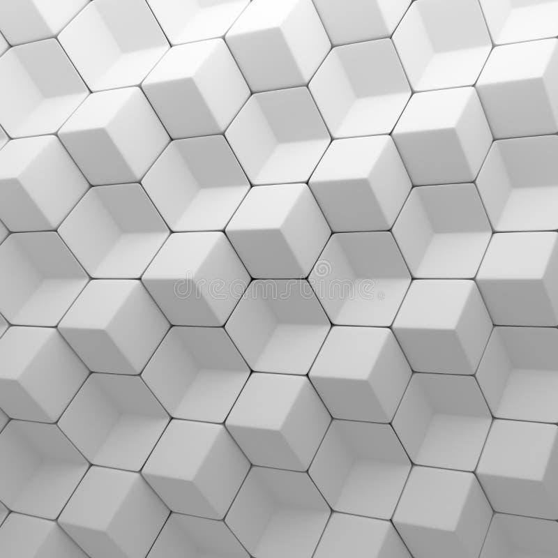 Biały abstrakcjonistyczny sześcianu tło 3d odpłaca się geometrycznych wieloboki royalty ilustracja