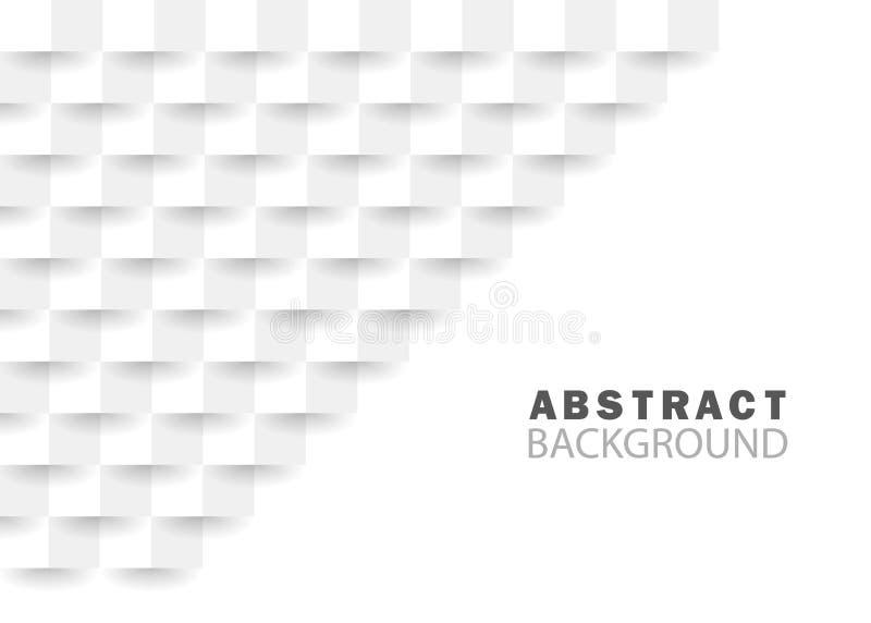 Biały abstrakcjonistyczny tło z geometryczną teksturą Nowo?ytny architektury t?o Kreatywnie geometryczny kwadrat dla strony inter ilustracja wektor