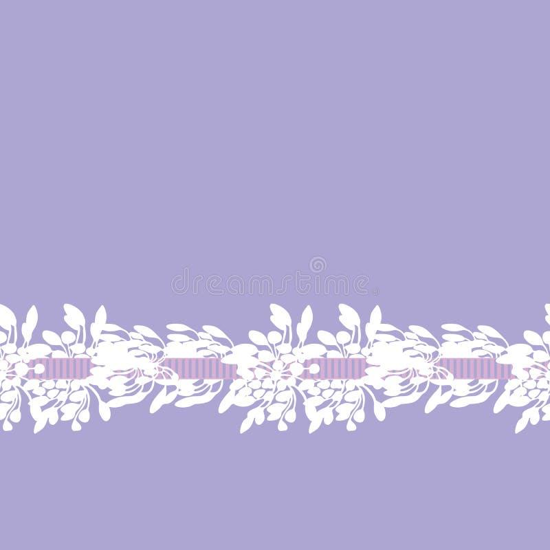 Biały afrykańskiej lelui kwiat z tasiemkową kwiecistą bezszwową wektor granicą na purpurowym tle dla tkaniny, tapeta, poślubia royalty ilustracja
