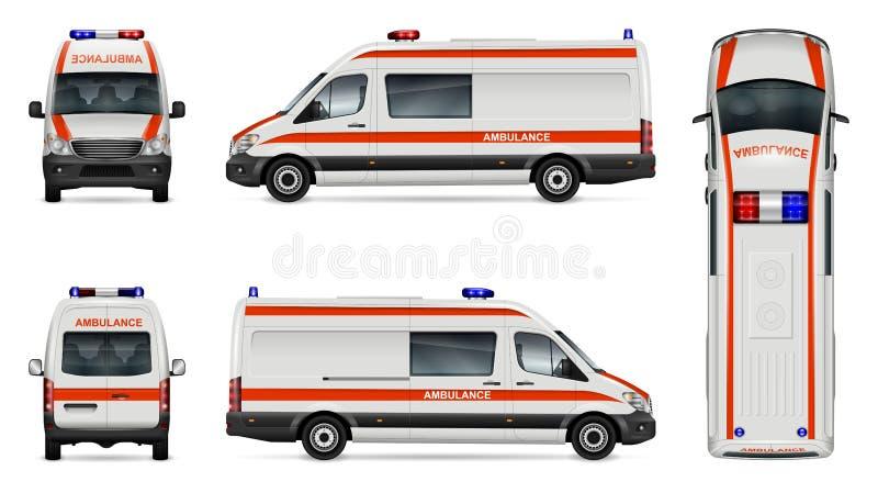 Biały ambulansowy samochodowy szablon royalty ilustracja