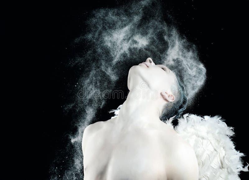 Biały amorek na walentynki ` s dniu obraz stock