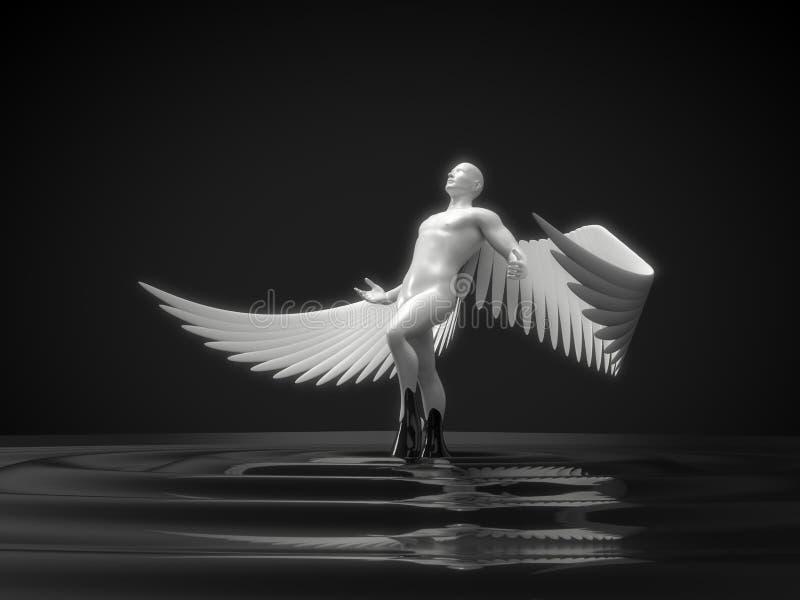 Biały anielski charakteru wydźwignięcie od czarnego ciecza ilustracja 3 d ilustracja wektor