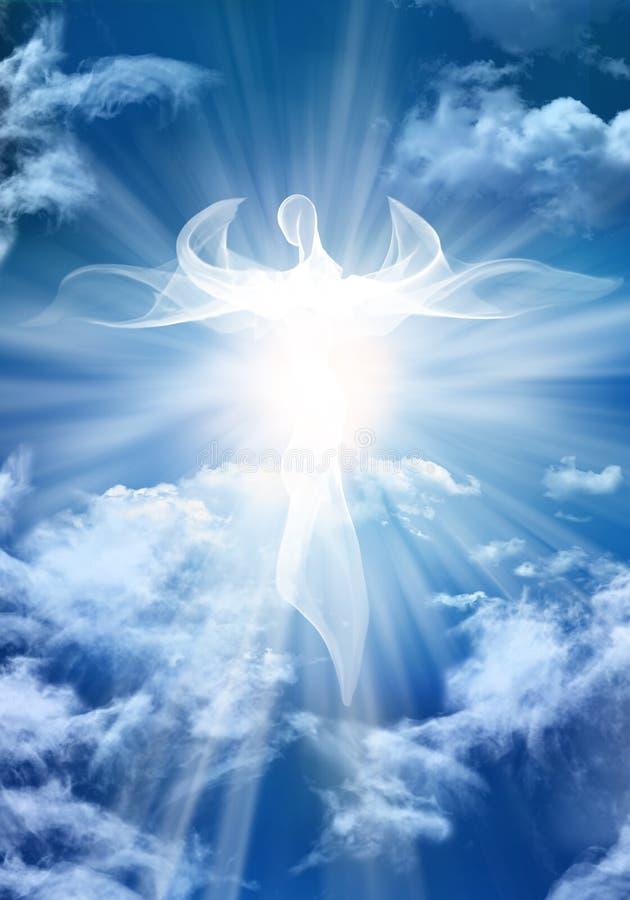 Biały anioł Abstrakcjonistyczna Nowożytna ilustracja Niebo chmurnieje z jaskrawymi lekkimi promieniami ilustracja wektor