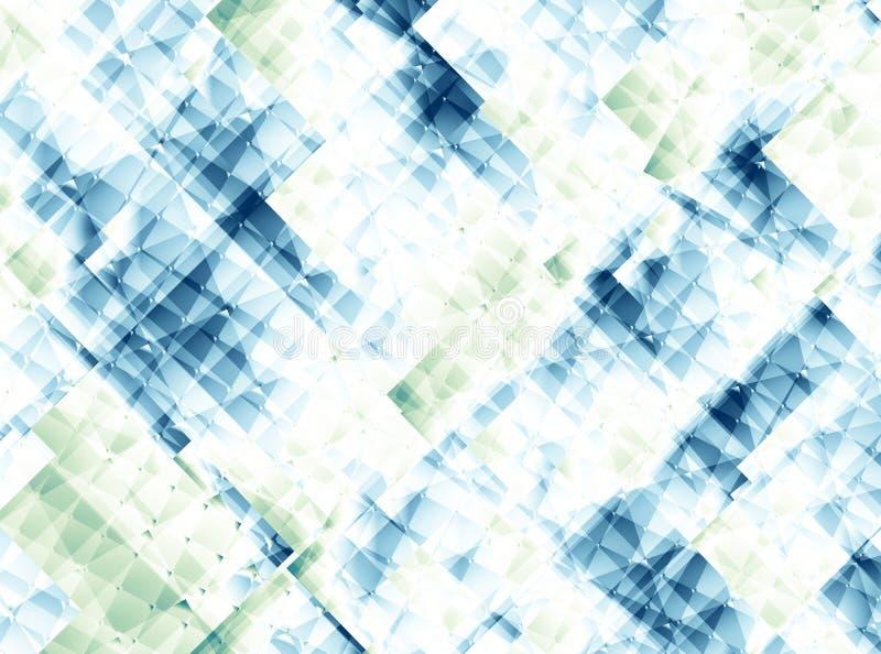 Biały, błękitny i zielony abstrakcjonistyczny fractal tło przypomina szklaną strukturę, royalty ilustracja