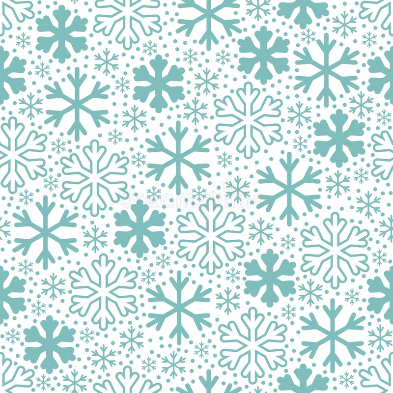 biały błękitny tło płatek śniegu Bożenarodzeniowy wektoru wzór royalty ilustracja