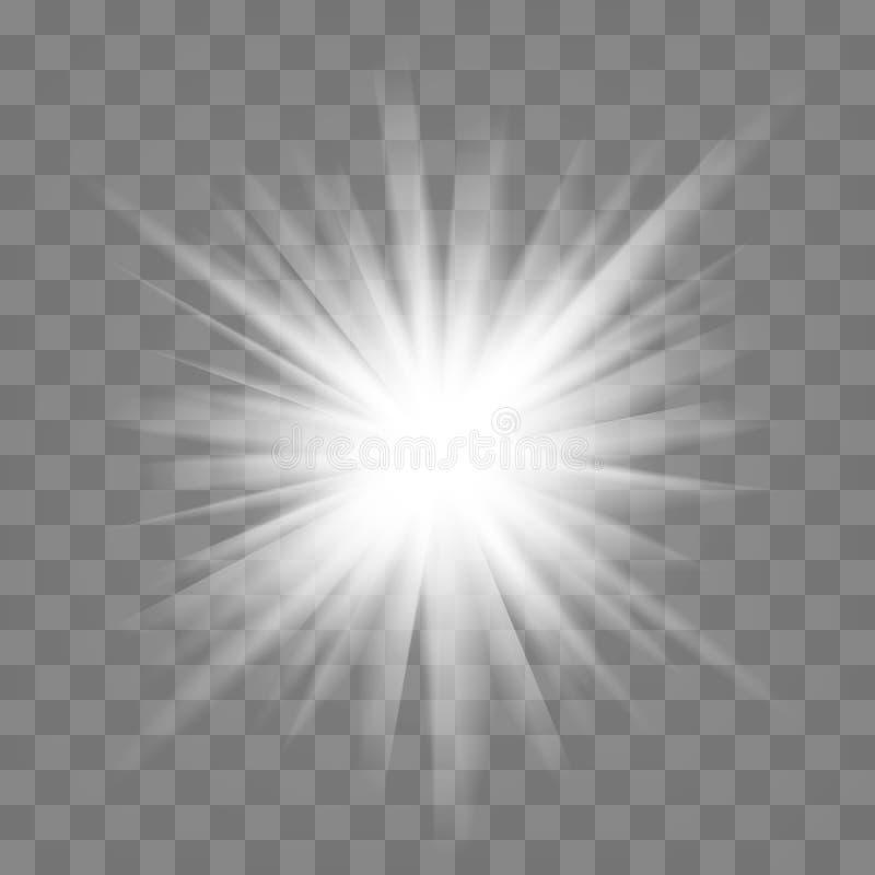Biały błyszczący wybuch światła z przezroczystym Dekoracja efektu chłodnego za pomocą błysków Gliniarz przezroczystego gradientu  ilustracji