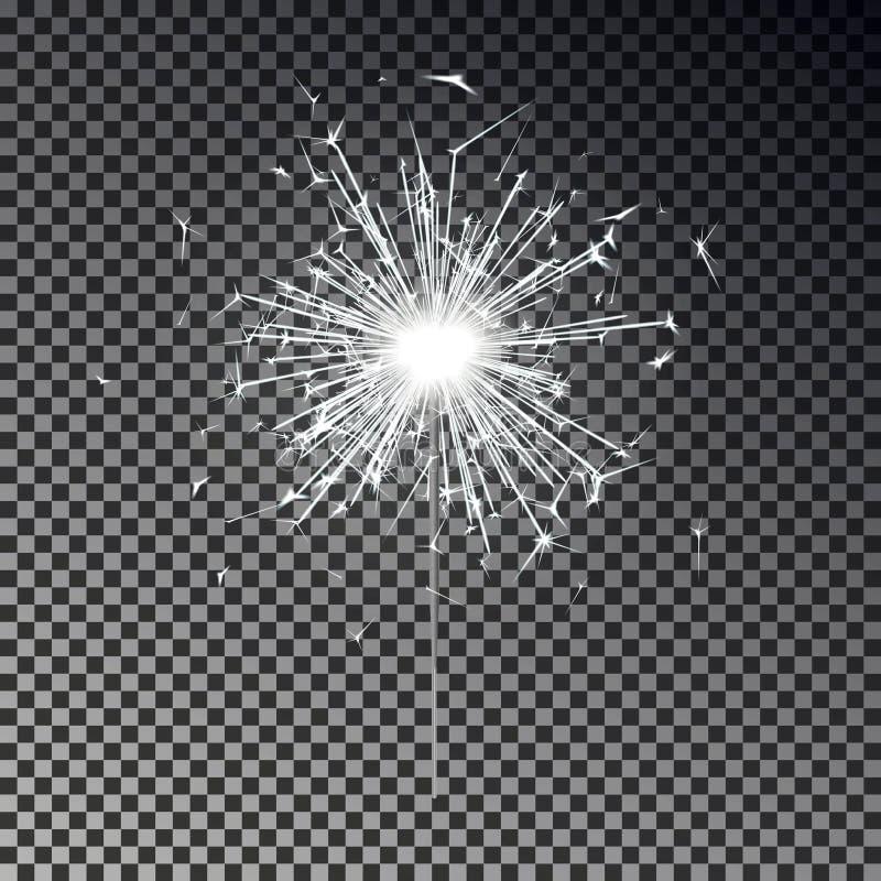 Biały Bengal ogień Nowego roku sparkler świeczka odizolowywająca na przejrzystym tle Realistyczny wektorowy liga ilustracji