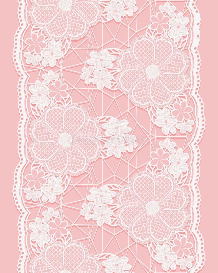 Biały bezszwowy koronkowy faborek na różowym tle Vertical granica kwieciści elementy royalty ilustracja