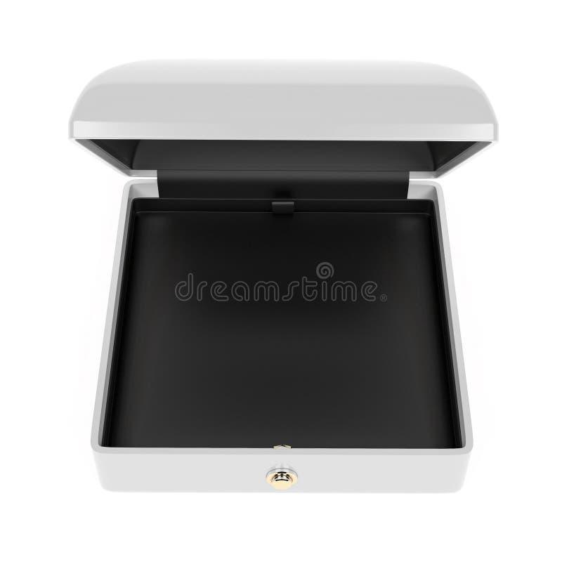 Biały biżuterii pudełko z czarną aksamitną pościelą Otwiera pustą skrzynkę dla klejnotów 3d renderingu ilustracja odizolowywaj?ca ilustracja wektor