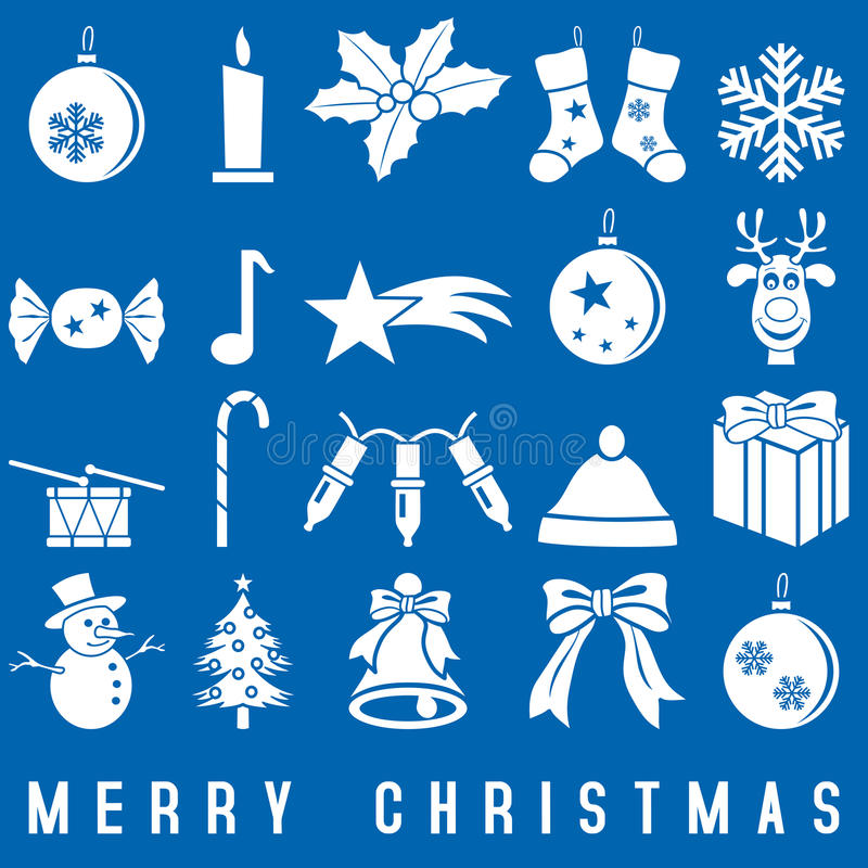 biały Boże Narodzenie ikony royalty ilustracja