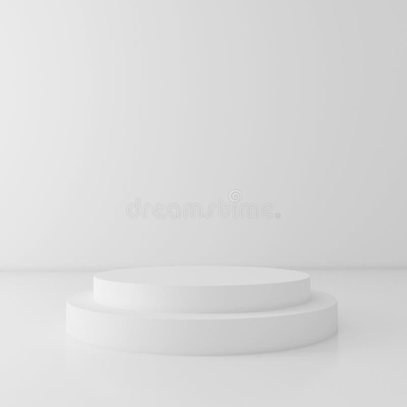 Biały butli podium na białym tle, 3d odpłaca się