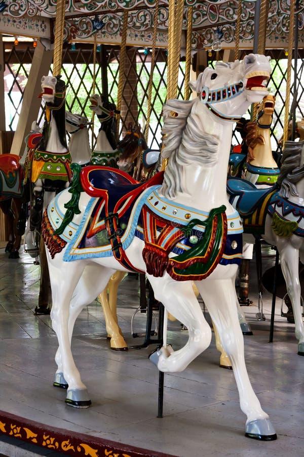 Biały Carousel koń zdjęcie royalty free