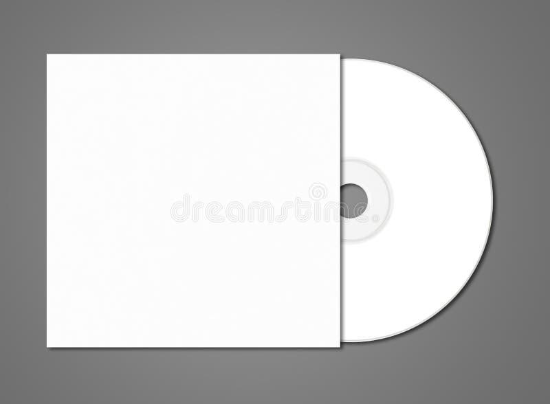 Biały cd - DVD mockup szablon odizolowywający na zmroku Popielatym obrazy stock