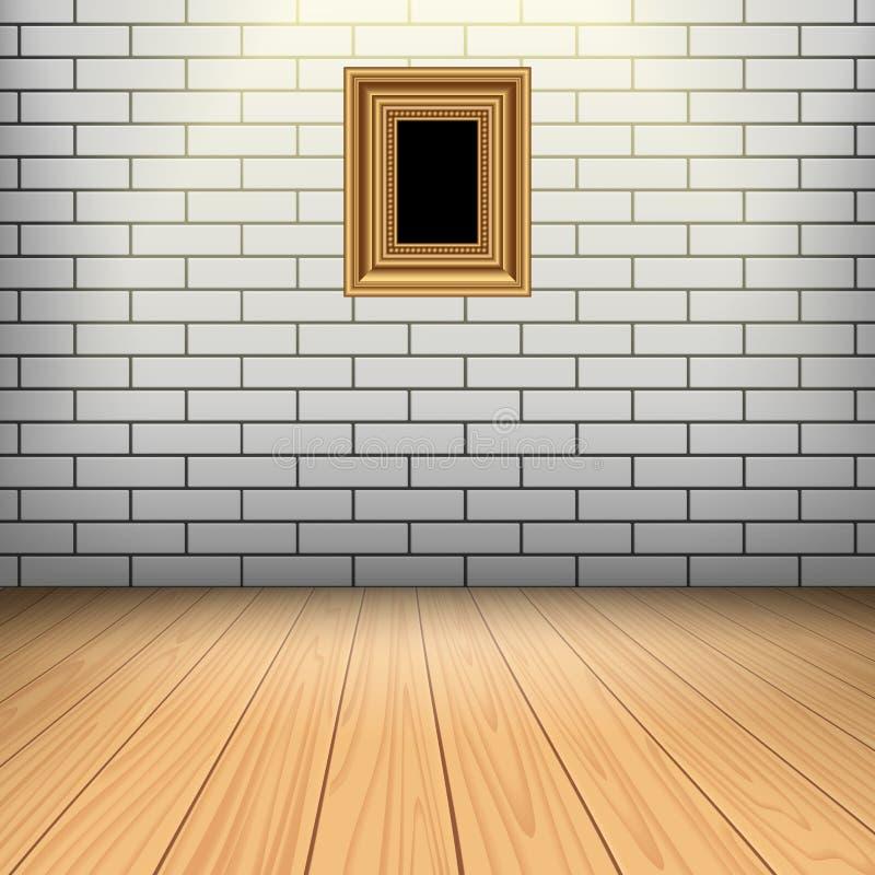 Biały ceglany pokój z drewnianą podłoga ilustracja wektor