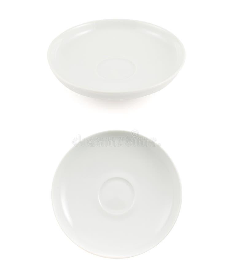 Biały ceramiczny talerz odizolowywający zdjęcia royalty free