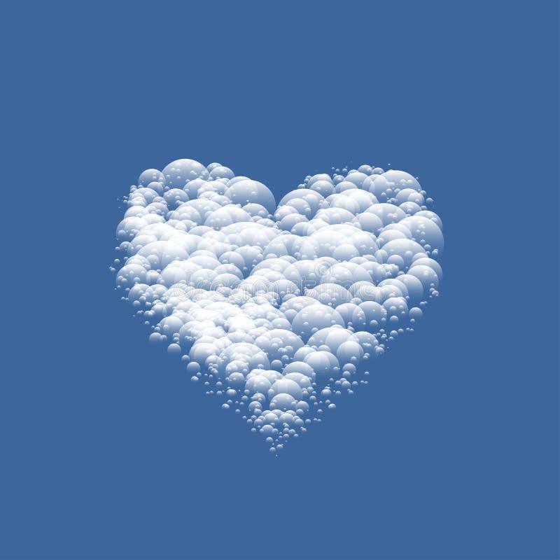 Biały chmurny walentynki serce ilustracja wektor
