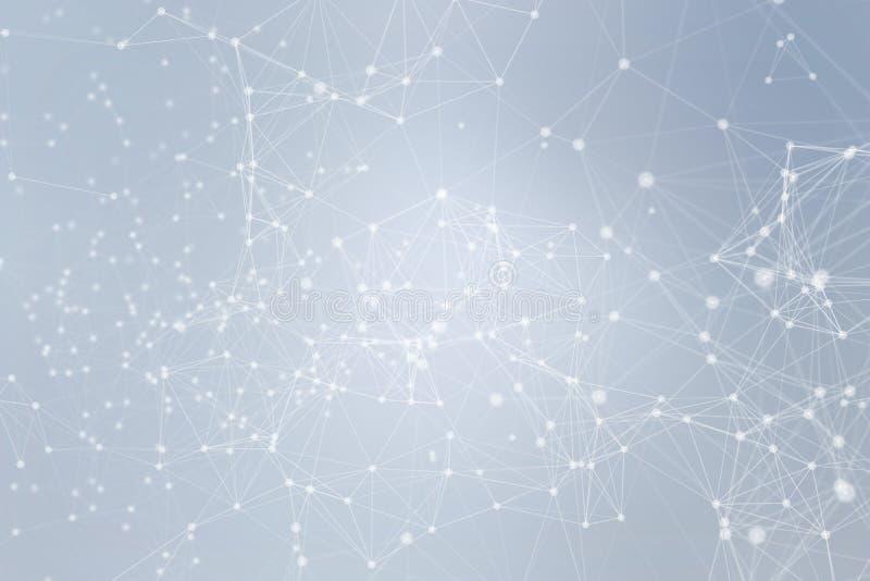 Biały cyfrowych dane i sieć związku trójbok wykłada i sfery w futurystycznym technologii pojęciu na błękitnym tle, 3d royalty ilustracja