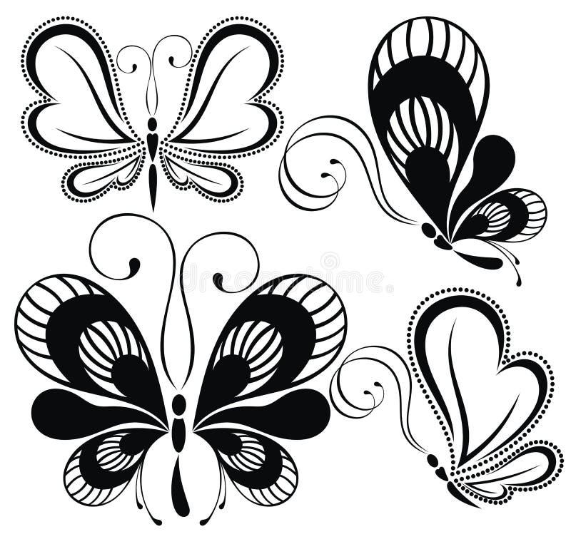 biały czarny motyle royalty ilustracja