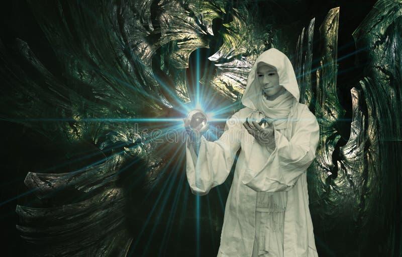 biały czarownik royalty ilustracja
