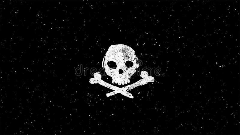 Biały czaszka kształt na czerni ilustracji
