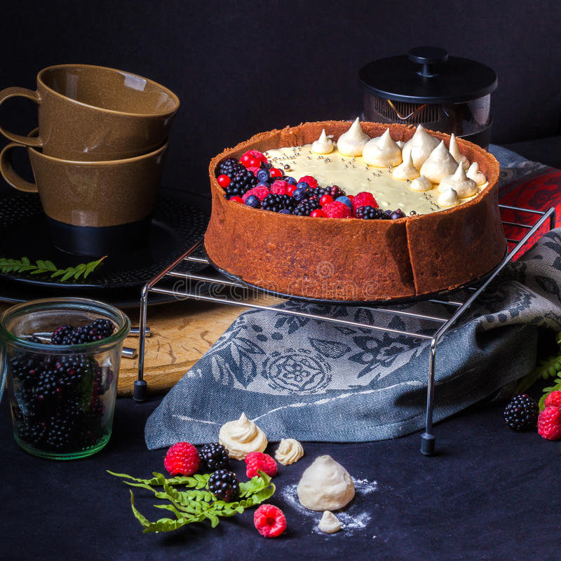 Biały czekoladowego mousse tort na ciemnym tle zdjęcia royalty free
