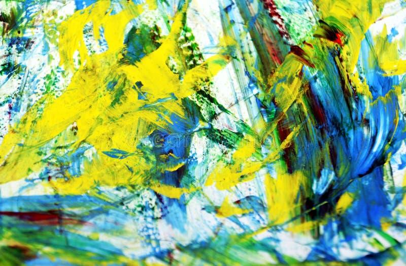 Biały czerwony żółty błękitny obrazu tło, abstrakcjonistyczny obraz akwareli tło obrazy stock