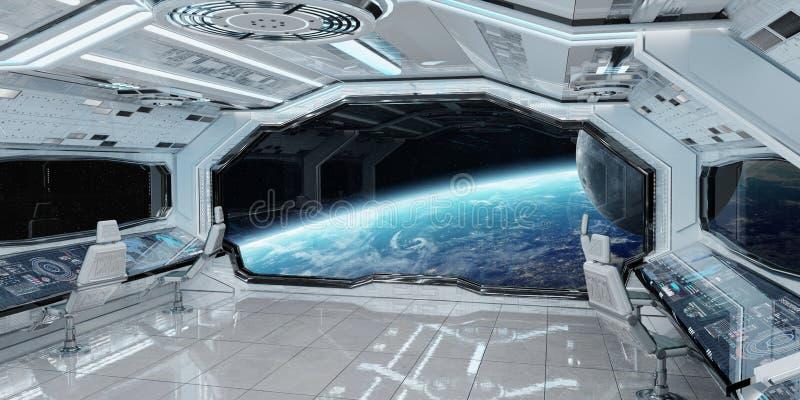 Biały czysty statku kosmicznego wnętrze z widokiem na planety ziemi 3D rend royalty ilustracja