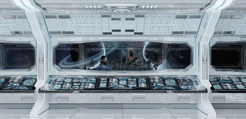 Biały czysty statku kosmicznego wnętrze z widokiem na planety ziemi 3D rend ilustracji