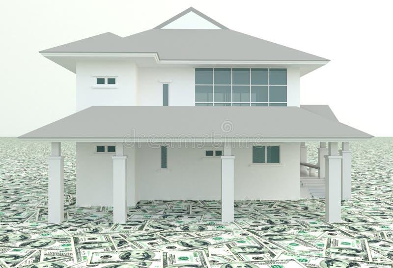 Biały 3D dom na stosie pieniądze w tle royalty ilustracja