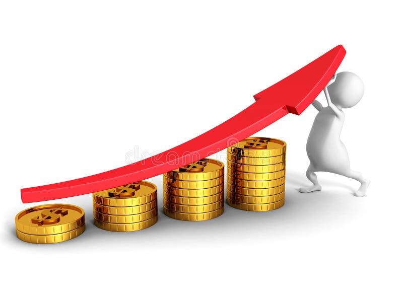 Biały 3d mężczyzna I Pomyślnych Biznesowych Złotych monet Prętowy wykres ilustracji