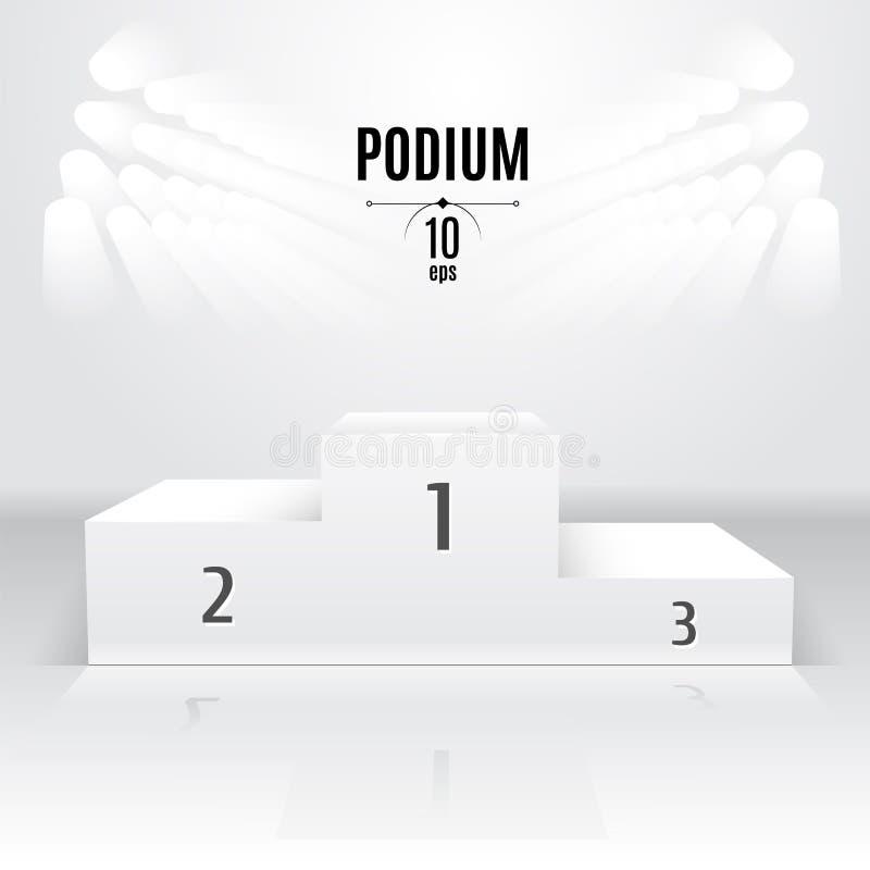 Biały 3D-podium szablon Powystawowy miejsce Wyznaczający po ilustracji