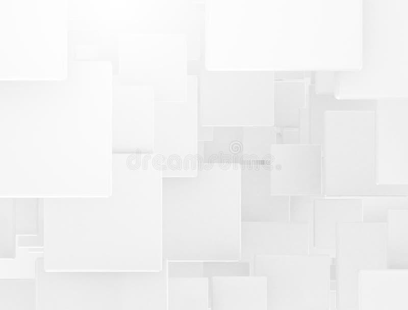 Biały 3d pokrywa się kwadraty ilustracja wektor