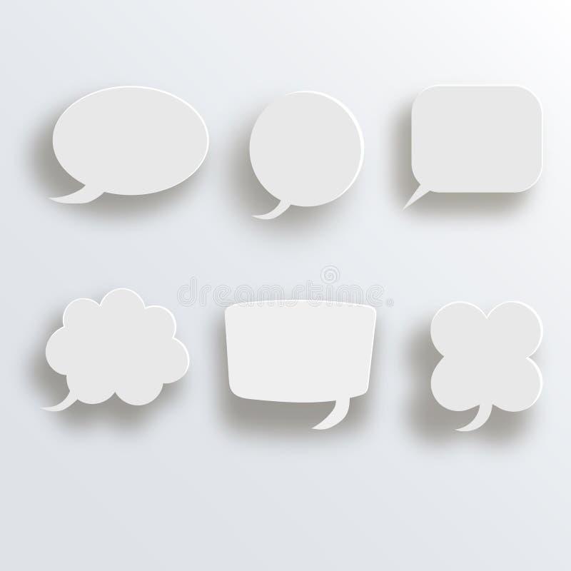 Biały 3d pustego miejsca kwadrat i zaokrąglający guzika wektoru set Zapina sztandaru round, odznaka interfejs dla podaniowej ilus royalty ilustracja