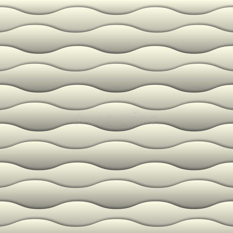 Biały 3d tło Abstrakcjonistyczny miękkiej części mleka wtite 3d fala bezszwowy wzór 3d papieru warstwy z realistycznym cieniem royalty ilustracja