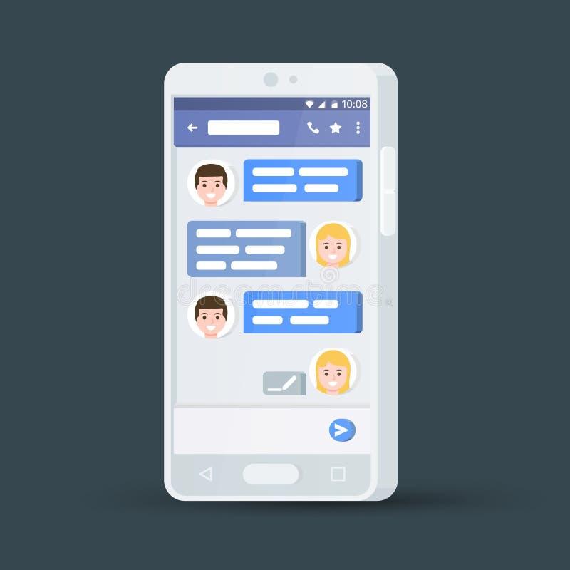 Biały 3d telefon komórkowy Wiadomości wymiana Płaski elegancki smartphone pojęcie cyfrowo wytwarzał cześć wizerunku sieci res soc ilustracji