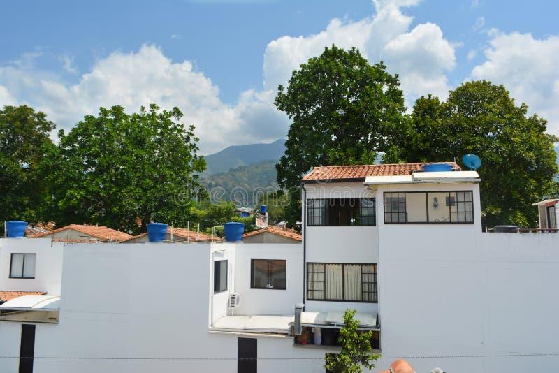 biały dom z niebieskim niebem halni i wysocy drzewa w tle zdjęcia royalty free